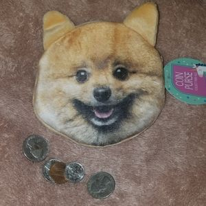 NWT realistic-looking Pomeranian coin purse